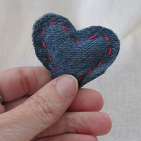 7 Small ( pocket size ) Pass It On Handstitched Denim Hearts