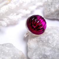 Fuchsia Light Globe Melon Ring  Silver  by FashionCrashJewelry
