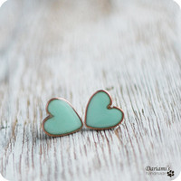 Post earrings Mint green Hearts made to order by Dariami on Etsy