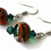 Orange Beads Earrings Emerald Green Crystals Silver | LittleApples - Jewelry on ArtFire