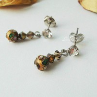 Earrings Brown Cloisonne Oriental Silver Ear Post Handmade Gifts | LittleApples - Jewelry on ArtFire