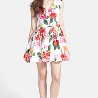 Trixxi Floral Fit & Flare Dress (Juniors) | Nordstrom