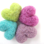Heart Needle Felted Magnets  Set of Four  100 Natural by SweetPB