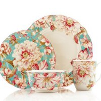 222 Fifth 16-Piece Dinnerware Set, Marley Teal, Service for 4