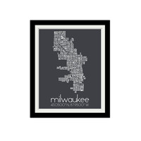"Milwaukee Neighborhood Map. Coordinates. Milwaukee, Wisconsin. Typography. Minimalist. Gift Idea. Milwaukee Pride. City. 11x14"" Print."