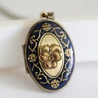 ON SALE Blue Flower Locket,Brass Locket, Something Blue ,Mom,Baby,Antiqued Locket, Oval Locket,Wedding Locket