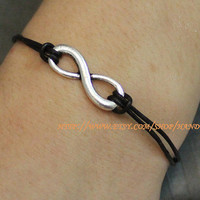 Silver Karma Leather Bracelet Cuff by handworld