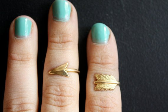 $22.00 First Knuckle Adjustable Arrow Ring Set by ChristineDomanic