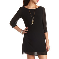 BOW-BACK CHIFFON SHIFT DRESS