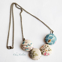 Beige blue Necklace, Fiber Necklace, Button Cabochon Necklace, Fabric Necklace, Leave Spring pattern, Fabric bead necklace for woman