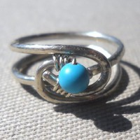 Turquoise Wrapped Hammered Silver Wire Ring Size 6