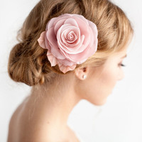 Blush Pink Hair Flower - Bridal Rose Hair Clip - Blush Pink - Dusty Rose - Wedding Hair Accessories