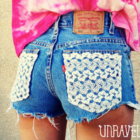 Lace pocket shorts high waisted Size LARGE by UnraveledClothing