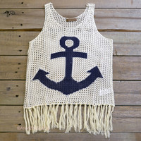 Knottingham Ivory Anchor Tassel Top