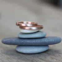 14k Rose Gold Wedding Band, Red Gold Matte Finish