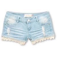 Almost Famous Olivia Lace Hem Denim Shorts