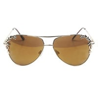 Metal Flower Detail Aviator Sunglasses | Wet Seal