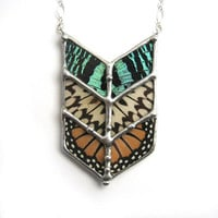 Chevron Tribal Butterfly Necklace by neile on Etsy