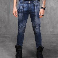 Vlad Stretch Pintuck Paneled Memphis Skinny Blue Jeans