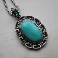 Tibetan Silver and Turquoise Oval Traditional Style Necklace - Necklaces & Pendants