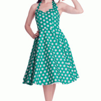 Stay fresh and girly with the Spring Potion Mariam 50's Pinup Dress by Hell Bunny. This sleeveless dress features large scale white polka dot print throughout against with green background, sweetheart neckline with seams over bust for shaping, adjustable t