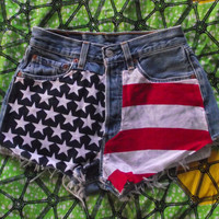 High-Waisted Star studded American Flag Levi Shorts