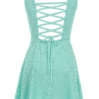 Mint Lace Up Back Dress - 29 N Under