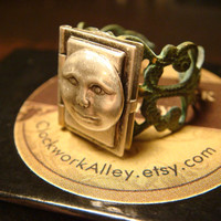 Tiny Moon Face Man in the Moon Book Locket Filigree Patina Ring - Steampunk Locket Ring (1711)