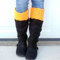 crochet boot cuffs in orange creamcicle by ValkinThreads on Etsy