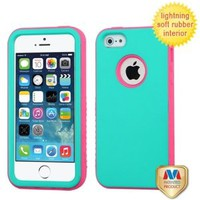 Hybrid Dual Layer Hard Skin Gel Snap On Protector Cover Case For Apple iPhone 5S, Teal Green/ Lightning Electric Pink