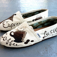 Cafe Custom TOMS by triSERIFtops on Etsy