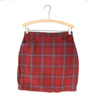 90s plaid mini skirt / short preppy skirt / high waisted skirt