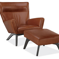 Boden Leather Chair & Ottoman - Chairs - Living - Room & Board
