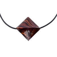 Wood Jewelry, Wood Pendant Necklace, Geometric Necklace, Choker Necklace, Hand Carved Pendant, Square Wood Pendant, Statement Wood Necklace