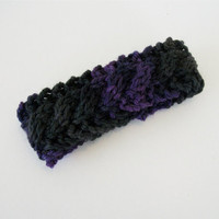 Black and Purple Knit Cable Bracelet Cuff Hand by OneStitchDesigns