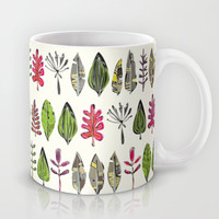***free worldwide shipping on now ~ and $5 off!! *** leaves and feathers Mug by Sharon Turner