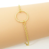 Gold Circle Bracelet, Dainty Simple Open Circle Minimalist Everyday Jewelry