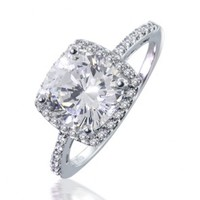 925 Silver Cushion Cut CZ Solitaire Engagement Ring 2.9ct