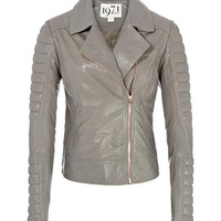 REISS Womens Lauren Dove Grey Quilted Leather Jacket