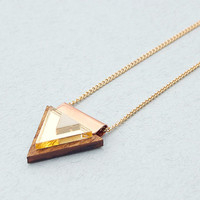Overlay Triangle Necklace in Wood and Gold by Wolf and Moon