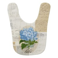 Vintage Blue Hydrangea French Ephemera Bib