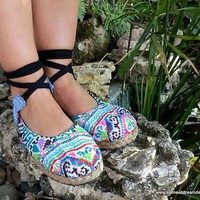 Dahlia in Blues, Hmong Embroidery & Batik, Ankle Wrap Espadrille Flat Shoe