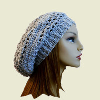 Slouchy Hat Beany Spring Summer Sparkling Crochet Beanie Textured Knit Slouch Lightweight Silver Gray Hat New Design 2014