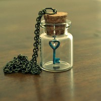 Key to My Heart Vial Necklace Romantic Steampunk by xPiebaldx