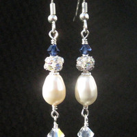 Bridal Swarovski Pearl and Crystal Drop by FlirtyCajunJewels