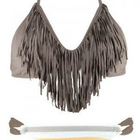 Audrey Taupe Fringe & Indian Summer Bottom