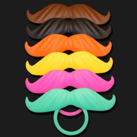 BeerMo Bottle Mustache 6 pack- MIX COLORS