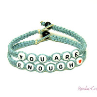 You Are Enough, Inspirational Bracelet Set in Light Blue Macrame Hemp, Made to Order