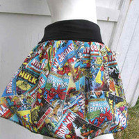 Marvel Comic Books Captain America Thor Iron Man Hulk retro Skirt shirt S-XL DiY | eBay