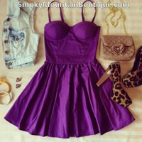 Sexy Purple Bustier Dress with Adjustable Straps - Size XS/S/M - Smoky Mountain Boutique
